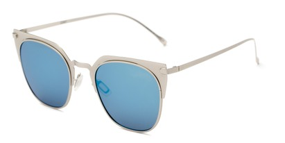 Angle of Everdene #23087 in Silver Frame with Blue Mirrored Lenses, Women's Cat Eye Sunglasses