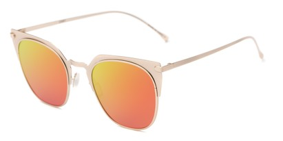 Angle of Everdene #23087 in Gold Frame with Orange/Yellow Mirrored Lenses, Women's Cat Eye Sunglasses