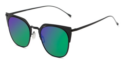 Angle of Everdene #23087 in Black Frame with Green/Purple Mirrored Lenses, Women's Cat Eye Sunglasses