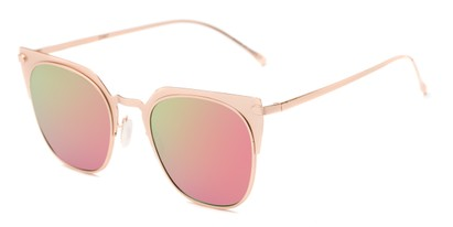 Angle of Everdene #23087 in Rose Gold Frame with Pink/Green Mirrored Lenses, Women's Cat Eye Sunglasses