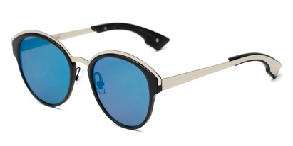 Angle of Cadin #2309 in Black/Silver Frame with Blue Mirrored Lenses, Women's Round Sunglasses