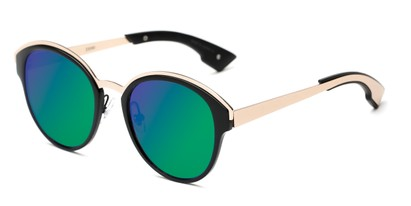 Angle of Cadin #2309 in Black/Gold Frame with Green/Purple Mirrored Lenses, Women's Round Sunglasses