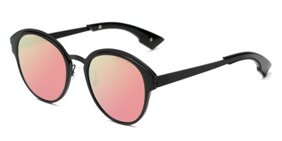 Angle of Cadin #2309 in Black Frame with Pink/Yellow Mirrored Lenses, Women's Round Sunglasses