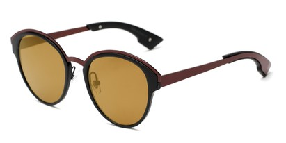 Angle of Cadin #2309 in Black/Red Frame with Gold Mirrored Lenses, Women's Round Sunglasses