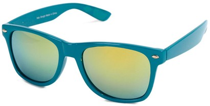 Angle of SW Mirrored Retro Style #2430 in Teal Frame with Yellow Mirrored Lenses, Women's and Men's