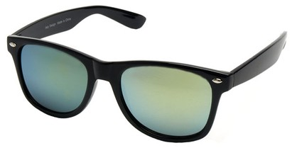 Angle of SW Mirrored Retro Style #2430 in Black Frame, Women's and Men's