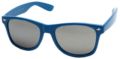 Angle of SW Mirrored Retro Style #2430 in Blue Frame with Mirrored Lenses, Women's and Men's