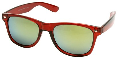 Angle of SW Mirrored Retro Style #2430 in Red Frame, Women's and Men's