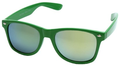 Angle of SW Mirrored Retro Style #2430 in Green Frame, Women's and Men's