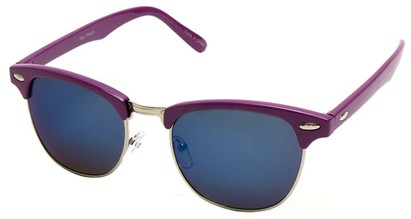 Angle of SW Fashion Style #1602 in Purple and Silver Frame with Blue Lenses, Women's and Men's