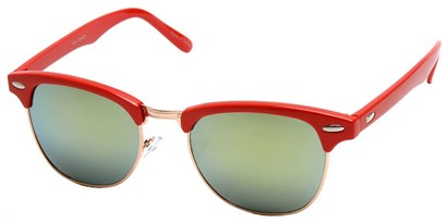 Angle of SW Fashion Style #1602 in Red and Gold Frame, Women's and Men's