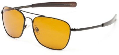 Angle of Tenmile #2504 in Black Frame with Yellow Driving Lenses, Women's and Men's Aviator Sunglasses
