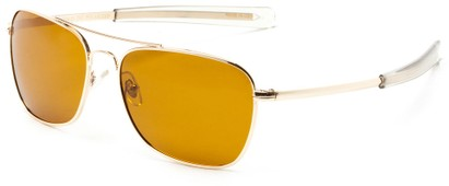 Angle of Tenmile #2504 in Gold Frame with Yellow Driving Lenses, Women's and Men's Aviator Sunglasses