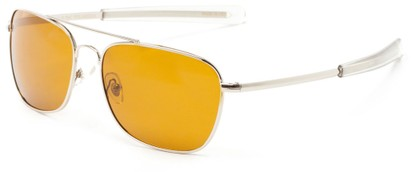 Angle of Tenmile #2504 in Silver Frame with Yellow Driving Lenses, Women's and Men's Aviator Sunglasses