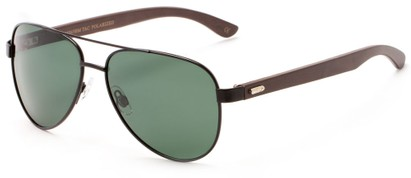 Angle of Fairfield #2566 in Black/Brown Frame with Green Lenses, Women's and Men's Aviator Sunglasses