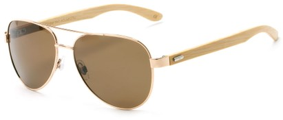 Angle of Fairfield #2566 in Gold/Tan Frame with Amber Lenses, Women's and Men's Aviator Sunglasses
