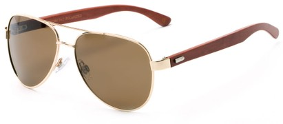 Angle of Fairfield #2566 in Gold/Brown Frame with Amber Lenses, Women's and Men's Aviator Sunglasses