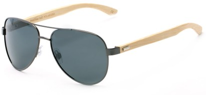 Angle of Fairfield #2566 in Grey/Tan Frame with Grey Lenses, Women's and Men's Aviator Sunglasses