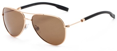 Angle of Havel #2506 in Gold Frame with Amber Lenses, Women's and Men's Aviator Sunglasses