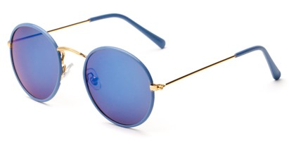 Angle of Haven #2575 in Blue/Gold Frame with Blue Mirrored Lenses, Women's and Men's Round Sunglasses