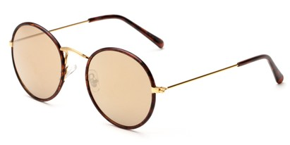 Angle of Haven #2575 in Tortoise/Gold Frame with Amber Mirrored Lenses, Women's and Men's Round Sunglasses