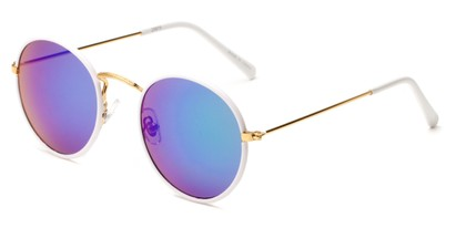 Angle of Haven #2575 in White/Gold Frame with Blue/Purple Mirrored Lenses, Women's and Men's Round Sunglasses