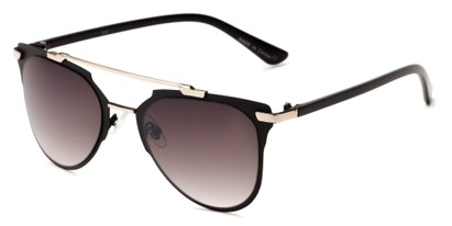 Angle of Katy #2509 in Black/Silver Frame with Smoke Gradient Lenses, Women's Aviator Sunglasses