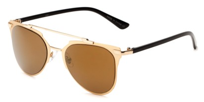 Angle of Katy #2509 in Gold/Black Frame with Gold Mirrored Lenses, Women's Aviator Sunglasses