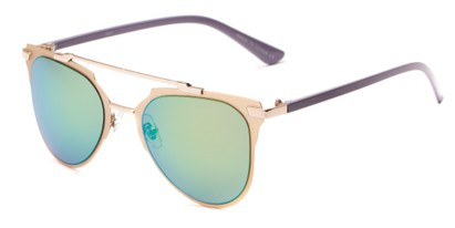 Angle of Katy #2509 in Rose Gold/Purple Frame with Green/Blue Mirrored Lenses, Women's Aviator Sunglasses