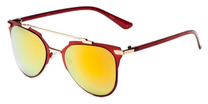 Angle of Katy #2509 in Red/Gold Frame with Orange Mirrored Lenses, Women's Aviator Sunglasses