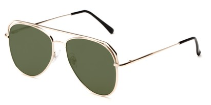 Angle of Dunston #2594 in Gold Frame with Green Lenses, Women's and Men's Aviator Sunglasses