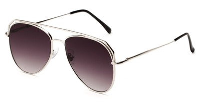 Angle of Dunston #2594 in Silver Frame with Smoke Gradient Lenses, Women's and Men's Aviator Sunglasses