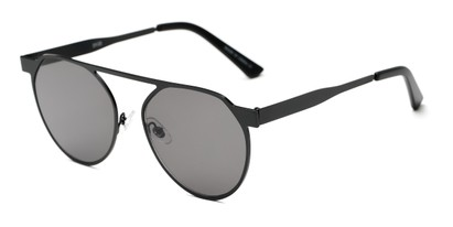 Angle of Bailey #25122 in Black Frame with Grey Lenses, Women's Round Sunglasses