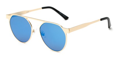 Angle of Bailey #25122 in Gold Frame with Blue Mirrored Lenses, Women's Round Sunglasses