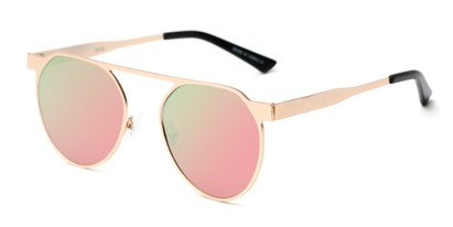 Angle of Bailey #25122 in Rose Gold Frame with Pink/Green Mirrored Lenses, Women's Round Sunglasses