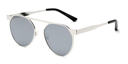 Angle of Bailey #25122 in Silver Frame with Grey Mirrored Lenses, Women's Round Sunglasses