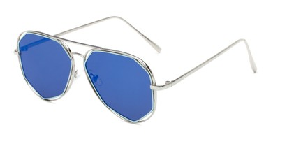 Angle of Emery #25127 in Glossy Silver Frame with Blue Mirrored Lenses, Women's Aviator Sunglasses