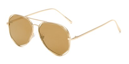 Angle of Emery #25127 in Matte Gold Frame with Gold Mirrored Lenses, Women's Aviator Sunglasses