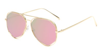Angle of Emery #25127 in Glossy Gold Frame with Pink/Green Mirrored Lenses, Women's Aviator Sunglasses