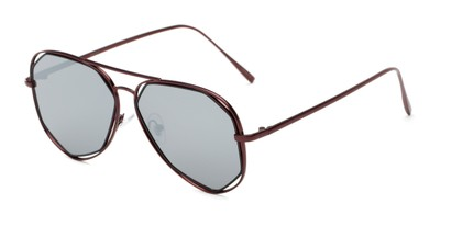 Angle of Emery #25127 in Matte Red Frame with Silver Mirrored Lenses, Women's Aviator Sunglasses