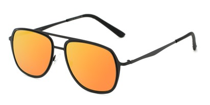 Angle of Grant #25136 in Black Frame with Orange/Yellow Lenses, Women's and Men's Aviator Sunglasses