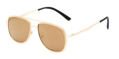 Angle of Grant #25136 in Gold Frame with Gold Mirrored Lenses, Women's and Men's Aviator Sunglasses