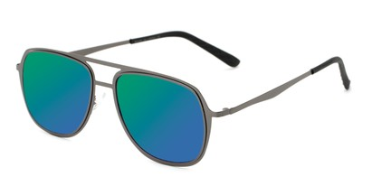 Angle of Grant #25136 in Grey Frame with Green/Blue Mirrored Lenses, Women's and Men's Aviator Sunglasses