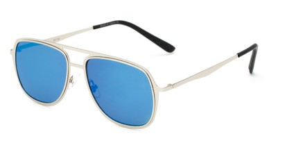 Angle of Grant #25136 in Silver Frame with Blue Mirrored Lenses, Women's and Men's Aviator Sunglasses