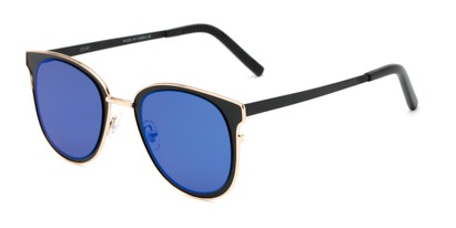 Angle of Madison #25147 in Black/Gold Frame with Blue Mirrored Lenses, Women's Round Sunglasses