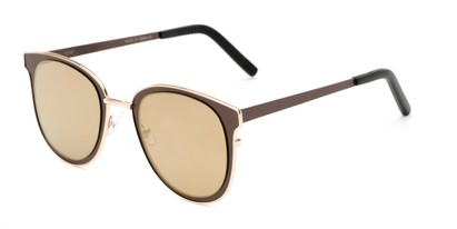 Angle of Madison #25147 in Brown/Gold Frame with Gold Mirrored Lenses, Women's Round Sunglasses
