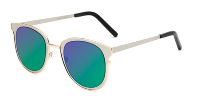 Angle of Madison #25147 in Silver/Gold Frame with Green/Purple Mirrored Lenses, Women's Round Sunglasses