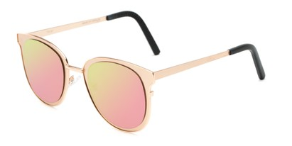 Angle of Madison #25147 in Gold Frame with Pink/Green Mirrored Lenses, Women's Round Sunglasses