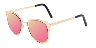 Angle of Madison #25147 in Rose Gold Frame with Pink/Yellow Mirrored Lenses, Women's Round Sunglasses