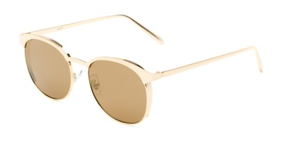 Angle of Funston #25157 in Glossy Gold Frame with Gold Mirrored Lenses, Women's Round Sunglasses